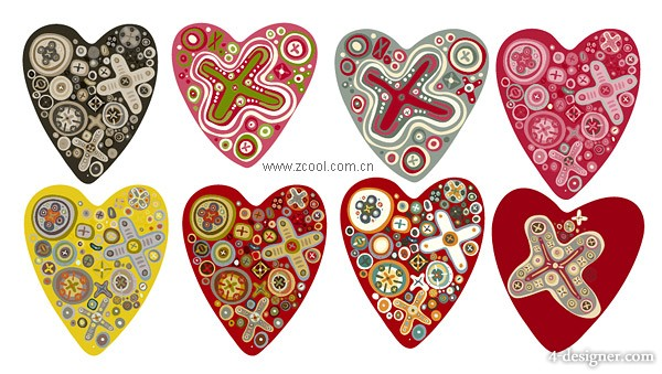 Multiple cute trend of heart shaped vector material