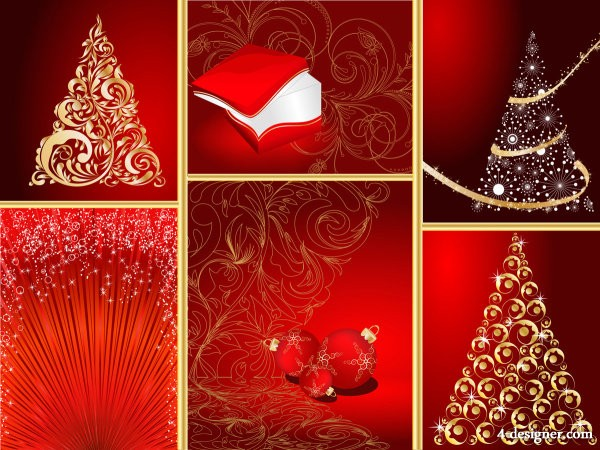 Red Christmas graphic elements   Vector red; Christmas; design elements; elements; ball; bright star; small pompon; stars; decorations; gift box; Christmas tree; posters; background; pictures; festivals; festival; HD picture