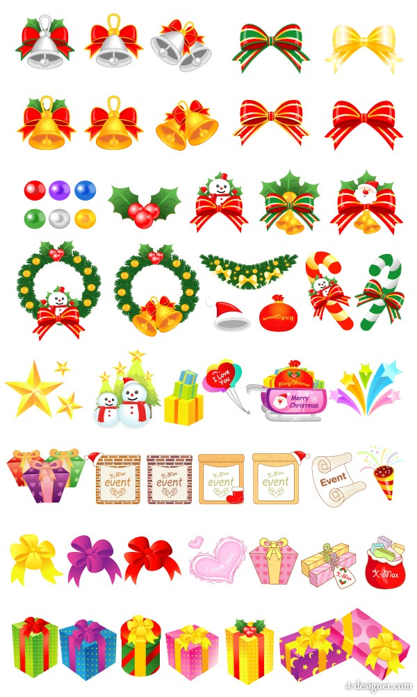 Various Christmas elements and cartoon gifts Vector
