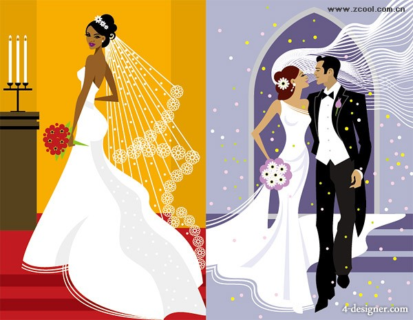 Western wedding illustration vector material