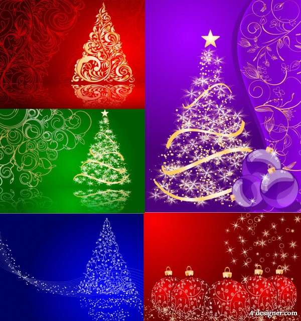 5 Christmas background of vector material
