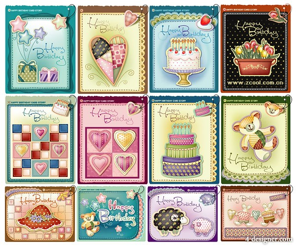 A classic cute birthday happy vector material