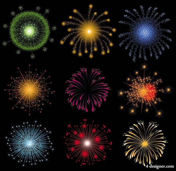 Brilliant fireworks fireworks vector material  2