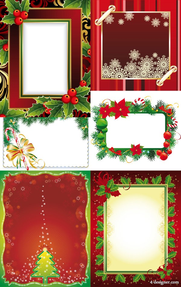 Exquisite Christmas photo frame Vector   Vector