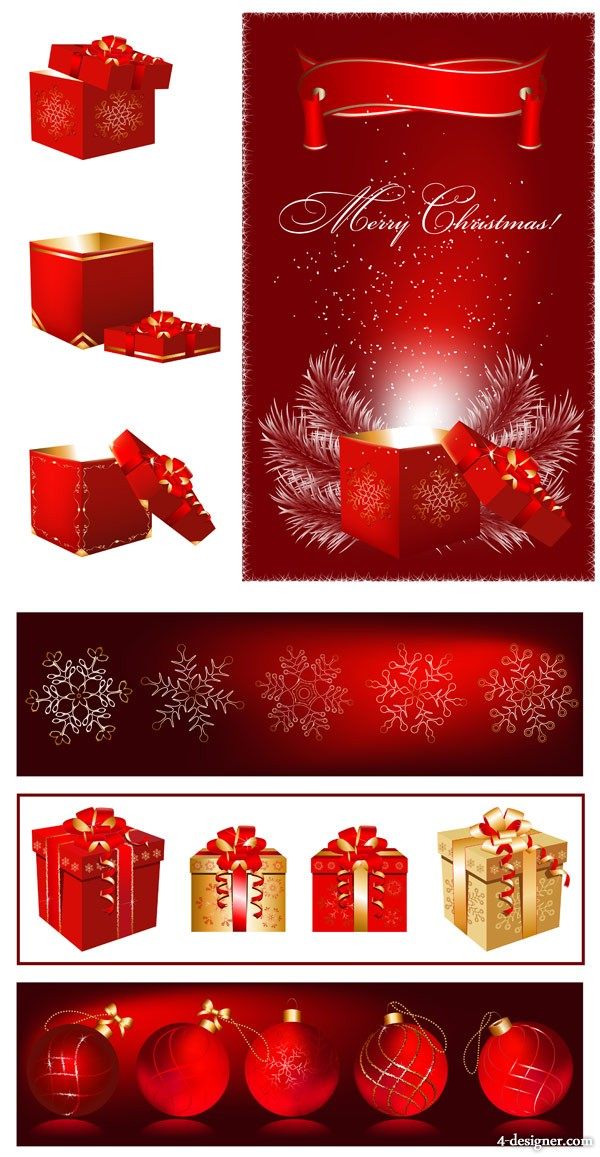 Gorgeous Christmas gifts red gift box   Vector