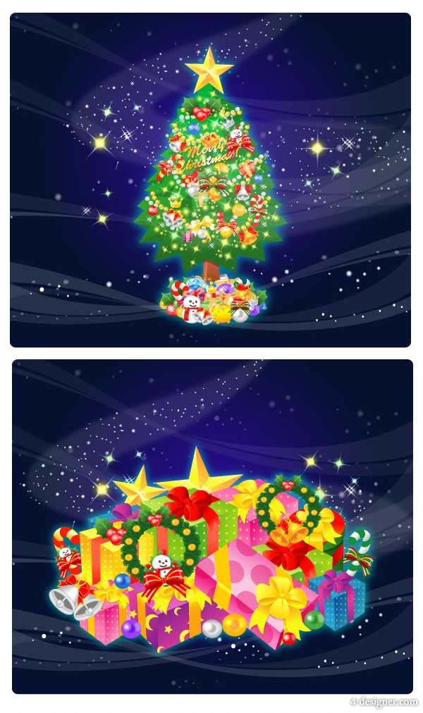 Gorgeous Christmas gifts vector material