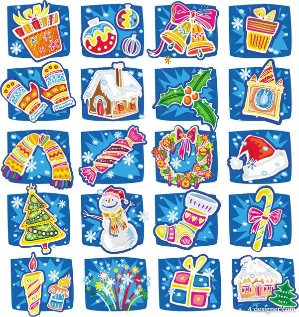 Hand painted cartoon Christmas vector material
