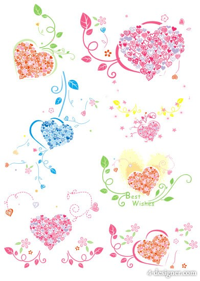 Heart shaped ring pattern vector material