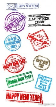 New Year postmark vector material