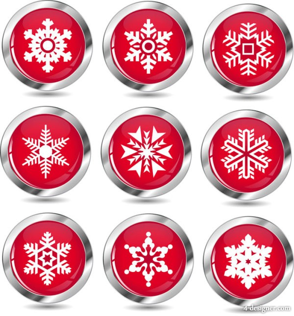 New Year snowflake icon vector material   Vector