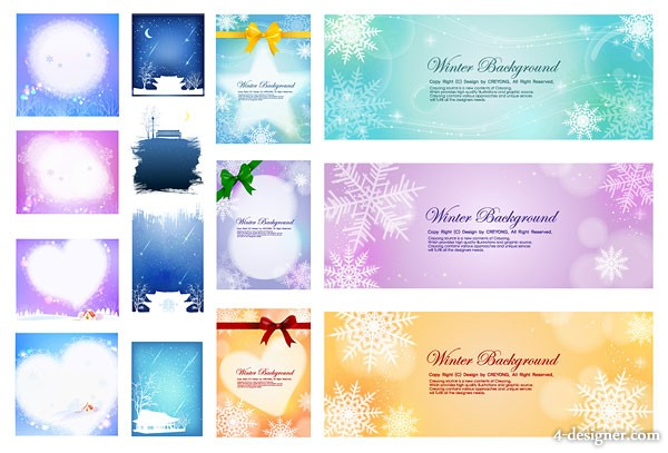 Several beautiful winter background vector material