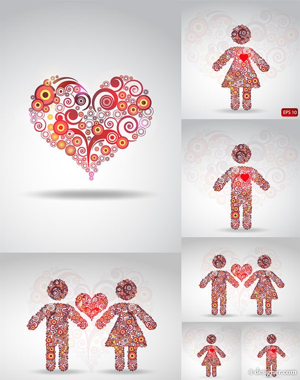 the circle consisting love pattern vector material heart shaped; heart shaped; love; circle; circle; circular; couple; lover; lovers; men and women; love; graphics; patterns; Vector