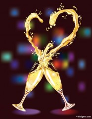 Vector heart shaped champagne vector material  3