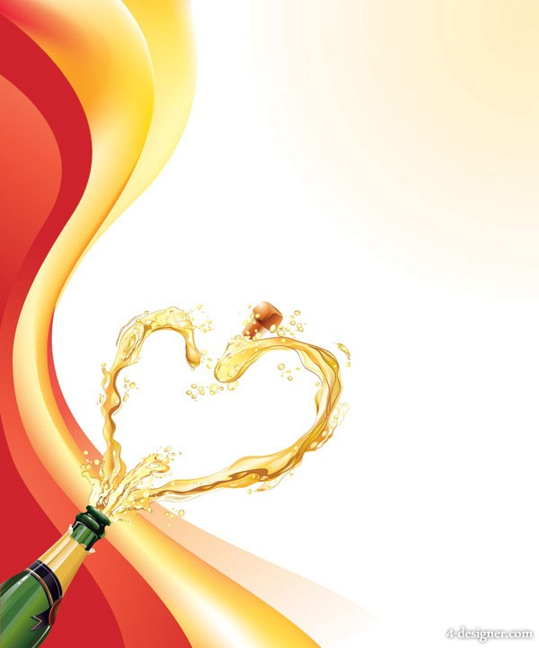 Heart shaped champagne vector material  5