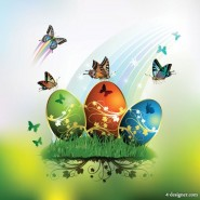 Easter card butterflies and decorated eggs 01   vector material