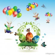 Easter card butterflies and decorated eggs 03   vector material