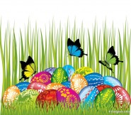 Easter card butterflies and decorated eggs 04   vector material
