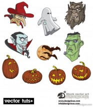 Halloween material   Vector Halloween; vampire; Hulk; cartoon; pumpkin head; bat; shaman; ghost; Vector