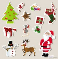Christmas elements marked stickers 01   Vector
