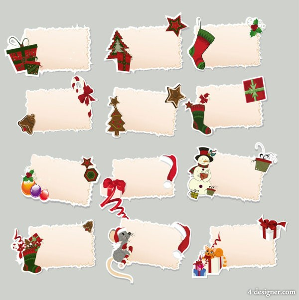 Christmas elements marked stickers 02   Vector
