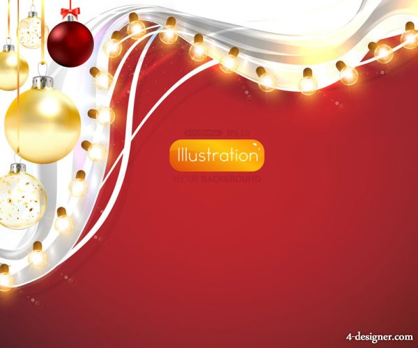 bright Christmas lights background 03   vector material
