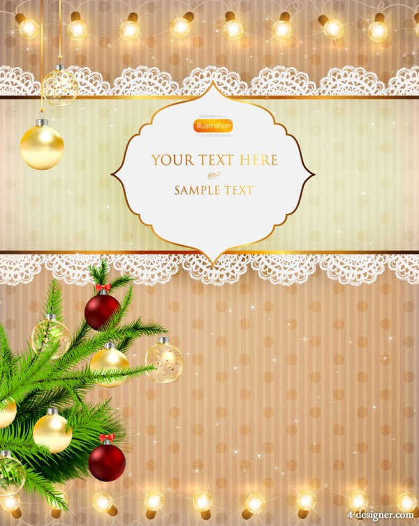 bright Christmas lights background 04   vector material