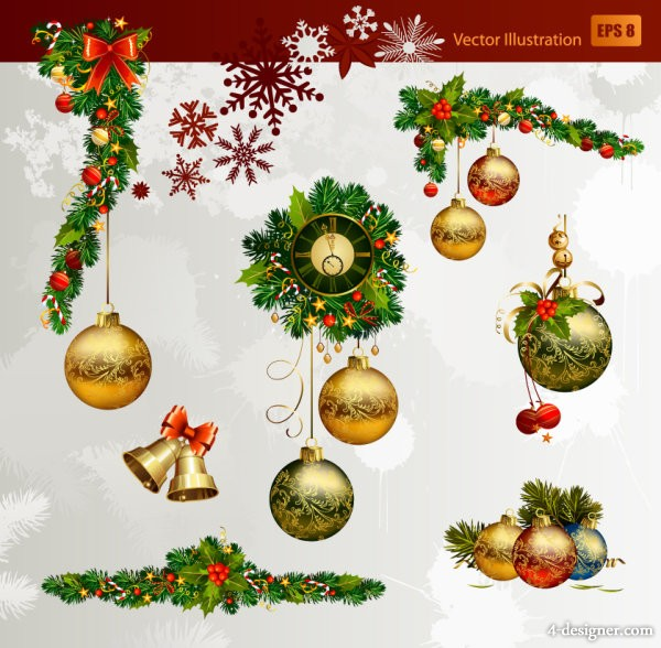Christmas decorative elements 02   vector material