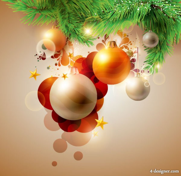 Beautiful Christmas card 01   vector material