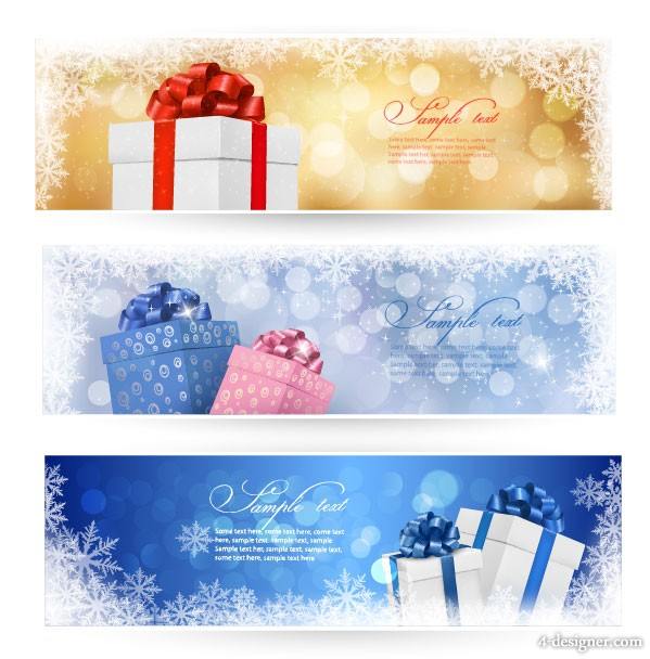 Beautiful Christmas gift box banner vector material