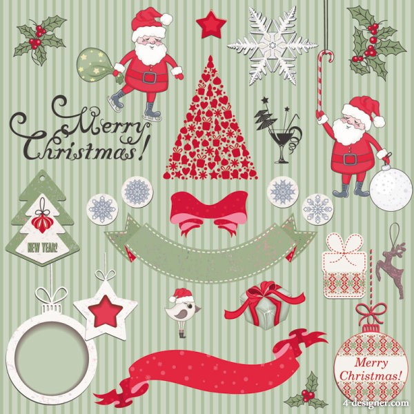 Cartoon Christmas background 04   vector material
