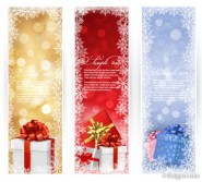 The exquisite Christmas Gift vertical banner   Vector