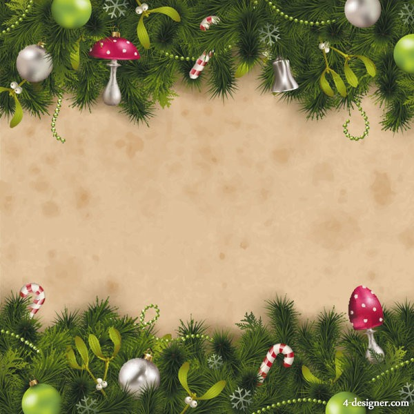 The exquisite Christmas pine background 04   vector material