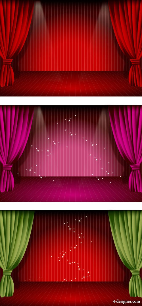 Beautiful stage curtain vector material