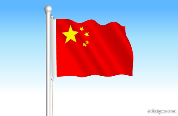Chinese flag vector material