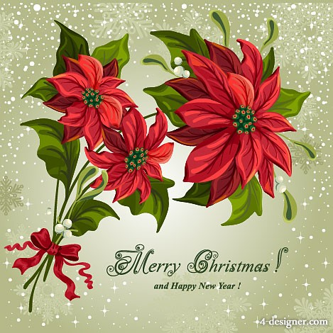 Christmas realistic flowers vector material of 01   Vector