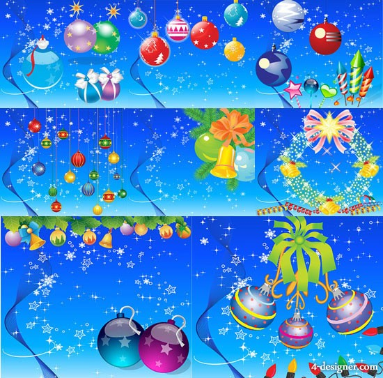 Cute Christmas elements and the background vector material