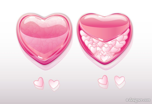 Exquisite heart shaped elements of vector material