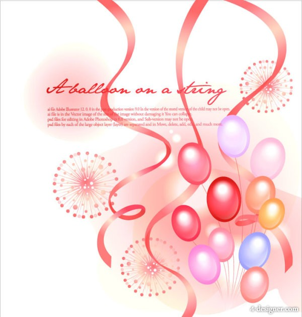 The colorful festive balloon ribbons fireworks background vector material  1