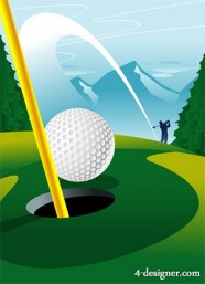A golf course hole vector material