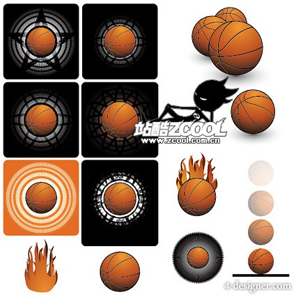 A group of basketball vector material