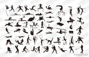 A variety of sports action silhouette vector material