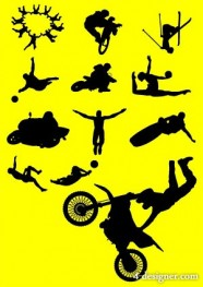 A variety of sports figures silhouette vector material