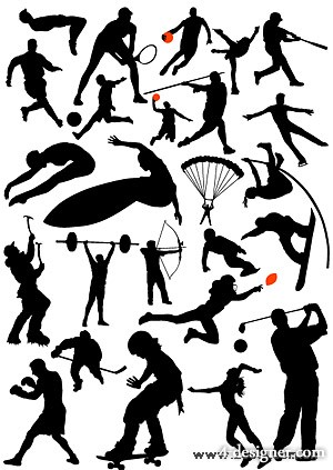 Action of a variety of sports figures silhouette vector material