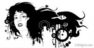 Black and white trend of female head vector material