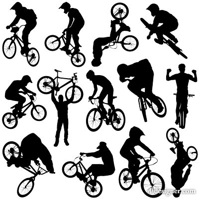 Cycling sports figures silhouette vector material