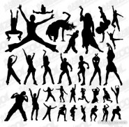 Dozens of characters dancing action silhouette vector material  2
