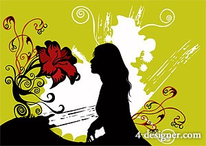 Fashion flowers and female silhouette vector material