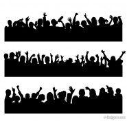 Figures silhouette vector material cheering