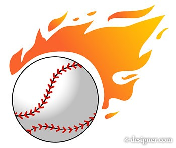 Flame baseball vector material