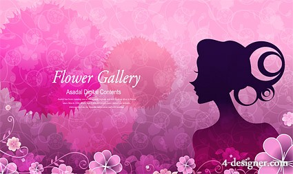 Flower beautiful vector material  4